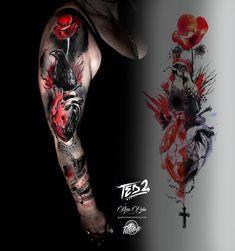 D Tattoo, Mandala Tattoo, Cool Tattoos, Lettering Tattoo, Tatoos, Tattoo Trash, Trash Polka Tattoo, Raabe Tattoo, Tatuagem Trash Polka