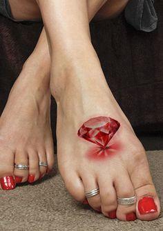 Red 3D diamond tattoo