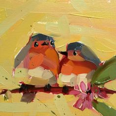 A pair of sweet valentine's! Two Robins no. 33 original bird oil painting by by prattcreekart