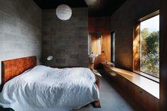 Dark formply ceiling, blockwork walls, ply joinery/window seat Kerstin Thompson Architects Block party | Urbis Magazine