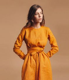 Linen dress. Wrap linen dress. Bridesmaid dress. Linen tunic. | Etsy