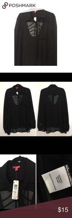 NWT Bongo Sheer Black Button Down Blouse New button down• caged back design• size 2XL Junior BONGO Tops