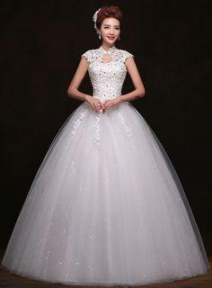 High Neck Appliques Beading Ball Gown Wedding Dress