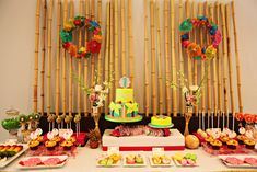 Hawaiian, Luau, Pineapple, Rainbow Fruit Skewers, Nutter Butters, Oreos, Cupcakes, Cake Pops, Coconut, Lollipops, Kiwi, Flip Flops, Surf Boards, Umbrella Wreaths, Tropical