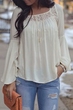Lace Spliced Square Neck Long Sleeve Blouse WHITE: Blouses | ZAFUL