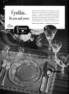 "Fostoria ""Cynthia"" Pattern Magazine Ad for 1951. This is my beautiful glassware, from my grandmother's house."