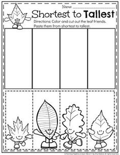 Order by Size - Measurement Worksheets for Preschool and other fall worksheets.