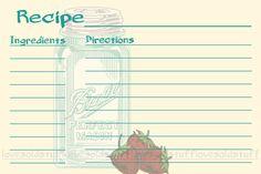 Recipe Card 4x6 Mason Jar Printable