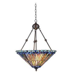 "Tiffany Style 3-Light Ladybug 25"" High Glass Pendant Light"