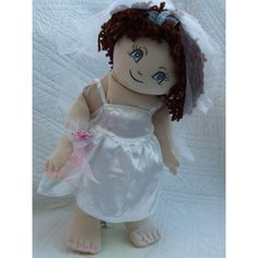 "Cuddly 18"" Rag Doll In White Satin Bridal Dress Bridal Dresses, Flower Girl Dresses, Build A Bear, Rag Dolls, White Satin, Stuffed Animals, Harajuku, 18th, Hair Color"