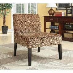 Plush Oversized Leopard Print Accent Chair