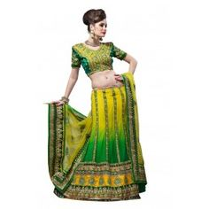 Splendorous Aloe Vera Green, Bottle Green & Gold Color Faux Georgette, Net Lehenga Choli
