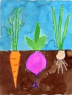Art Projects for Kids: Vegetable Garden Watercolor Painting. Perfect for plants ., - Art Projects for Kids: Vegetable Garden Watercolor Painting. Perfect for plants …, - Spring Art Projects, School Art Projects, Art School, Kindergarten Art Projects, Art Projects For Kindergarteners, Kids Painting Projects, Kindergarten Lessons, Art 2nd Grade, Classe D'art