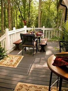 I know it's hard to believe, but I was able to put together a post featuring our porches and decks! These are my favorite spaces to spend th. Outdoor Tables, Outdoor Spaces, Outdoor Decor, Lakeside Living, Outdoor Living, Decks And Porches, The Great Outdoors, Outdoor Furniture Sets, Wood Railing