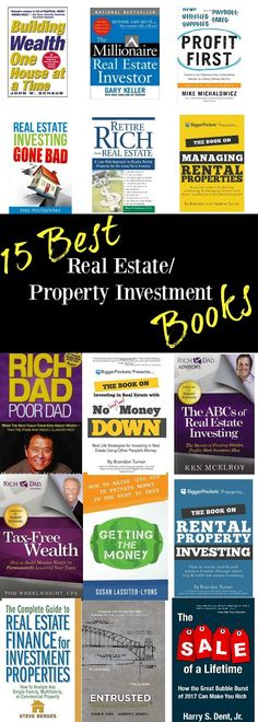 "Best real estate investment books | Best property investment books... IF you are looking to invest in a home as an asset for your future, these books should be ""must read"" requirements before dipping our toe into the real estate market. Find out how to get the money for your investment. how to avoid common mistakes. HOw to manage your property and much more in this varied list of 15 wonderful real estate investment books #realestateinfographics"