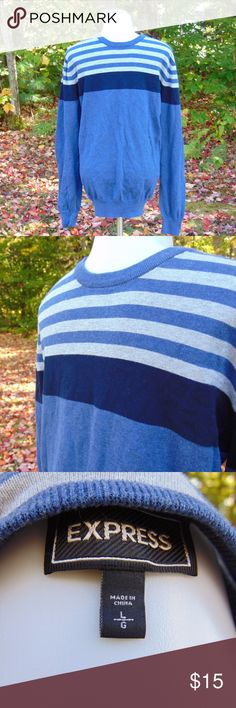 Men's Large Express Sweater Men's Large Express Sweater - in excellent condition!  Color's are a shades of blue, & some gray Express Sweaters Crewneck