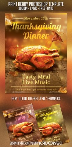 Thanksgiving Dinner Flyer — Photoshop PSD #texture #thanksgiving invitation • Available here → https://graphicriver.net/item/thanksgiving-dinner-flyer/9319151?ref=pxcr
