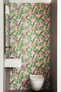 Often one of the most overlooked rooms in the house – the downstairs loo! But its the area where you can inject colour and a bold pattern. Downstairs Loo, Promotional Design, Bathroom Inspiration, Design Projects, Curtains, Blackbirds, Apartments Decorating, Pink, House