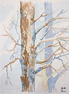 La neige dans les bois á Sexten - Aquarell, watercolor - 30 x 40 cm