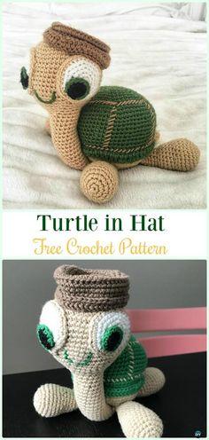 Amigurumi Turtle in Hat Free Crochet Pattern - #Crochet; #Turtle; Amigurumi Toy Softies Free Patterns