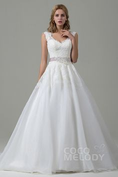 Classic+A-Line+V-Neck+Natural+Train+Organza+Satin+Ivory+Sleeveless+Open+Back+Wedding+Dress+with+Appliques+and+Ribbons+CWZT15007