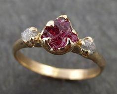 Raw Rough Ruby Diamond Engagement Ring 14k red Gemstone Engagement birthstone Right Hand Ring Multi Stone byAngeline 0406