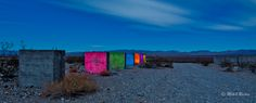 Abandoned Concrete Factory on the Outskirts of Rhyolite. Light Painting