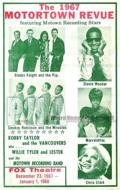 Motortown Revue at the Fox Theater, Detroit, MI, Dec. 23, 1967 & Jan. 1, 1968, Featuring Gladys Knight & the Pips, Smokey Robinson & the Miracles, Stevie Wonder, The Marvelettes & Chris Clark