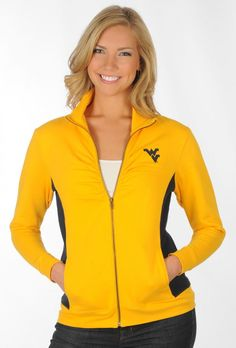 Feminine and Sporty! Lovin' the rouching at the bust. WVU Gold and Blue Track Jacket