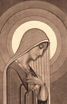 I think no matter our religion, the imagine of the Blessed Mary can evoke such deep appreciation for the pure love of motherhood. This art deco Blessed Mary is so lovely. Blessed Mother Mary, Blessed Virgin Mary, Religious Icons, Religious Art, Virgin Mary Art, Art Visage, Queen Of Heaven, Mama Mary, Immaculate Conception