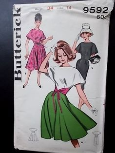 Vintage Butterick pattern 9592 misses cape look dress size 14 60s Patterns, Vintage Dress Patterns, Clothing Patterns, Vintage Summer Dresses, Vintage Outfits, Vintage Fashion, Summer Dress Patterns, Rockabilly, Beautiful Patterns