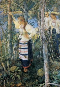 The rekko dresses, typical national dresses of Finnish Karelian counties | Neiet niemien nenissä  Pekka Halonen  oil  1895
