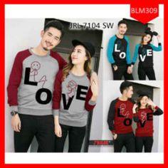 Fashion Sweater Couple Love Duduk Kombinasi Terbaru