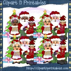 Claus Family 2- #Clipart #ResellableClipart #ResellerClipart #Christmas #Santa #SantaClaus #ChristmasTree #Star #Children #Kids #Chair #Gifts #Presents