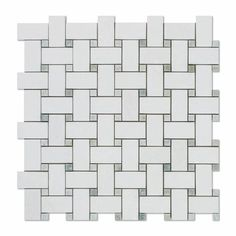 Thassos White Marble Honed Basketweave Mosaic Tile w/ Ming-Green Dots https://www.americantiledepot.com/collections/marble/products/thassos-white-marble-honed-basketweave-mosaic-tile-w-ming-green-dots