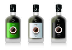 TKO Design. Japanese soy sauce bottle, etched glass, textured label.