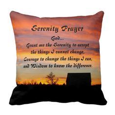 Serenity Prayer Sunset Silhouette Pillow #verse #prayers #inspirational #sunsets
