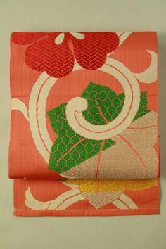 Minium color fukuro obi (rokutsu), large flower pattern / 鉛丹色地 大胆花唐草と楓柄 六通袋帯   #Kimono #Japan http://global.rakuten.com/en/store/aiyama/