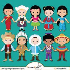 Children of the World clipart PART 1, Children around the World, World Children, Global clipart, Children, Unity clipart, Ethnic  Kids by PentoolPixie on Etsy https://www.etsy.com/uk/listing/222086638/children-of-the-world-clipart-part-1
