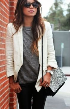 White blazer, grey shirt, black pants and silver hand bag fashion for fall