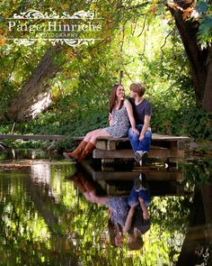 Oak Glen Engagement Session  Such a pretty setting! Just add the wedding dates on the water! So perfect!
