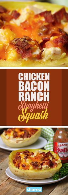 Chicken Bacon Ranch Spaghetti Squash - Spaghetti Squash is such a versatile base for any meal, and with the added protein and flavor this recipe will quickly become one of your new favorites.