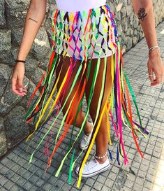 Rainbow skirt for pride 2020 Pride Outfit, Festival Outfits, Festival Fashion, Diy Festival Clothes, Carnival Costumes, Halloween Costumes, Halloween Disfraces, Festival Looks, Rave Outfits