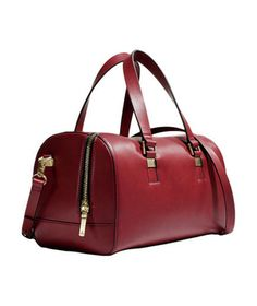 Zara Bowling Bag - Round out a wardrobe of neutrals with a totally tubular bag in rich oxblood faux leather