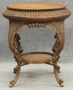 Heywood Wakefield Wicker And Oak Table Height- 31