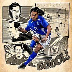 Legends Football, Football Art, World Football, Ronaldo, Football Player Drawing, Football Players, Ronaldinho Skills, Fc Barcelona Wallpapers, Fifa