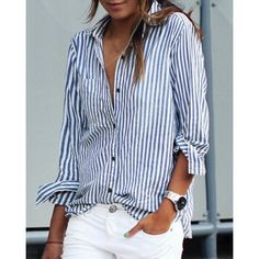 LASPERAL 2017 Women Striped Long Sleeve Shirt Turn-Down Collar Loose Blusas Femme Autumn Fall Casual Tops Sexy Tee Plus Size - TakoFashion - Women's Clothing & Fashion online shop Striped Long Sleeve Shirt, Long Sleeve Shirts, Blue Striped Shirt Outfit, Striped Dress, White Long Sleeve Shirt Outfit, White Shirt Outfits, Outfit Jeans, Blouse Outfit, Work Blouse