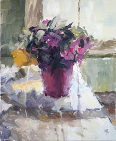 Magenta Flowers in Pot, oil on canvas,   60x50cm, 24x20in