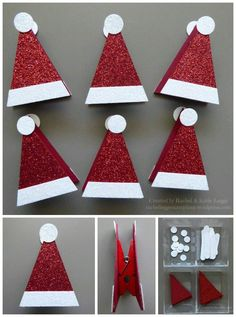 Simple Santa Hat Treat Toppers Remember our witch's hat treat toppers? Well, we had so much fun creating Halloween treat toppers we had to create some for Christmas too!Santa Hat Treat Bag Holders On a ClothespinSimple Stampin' Up!arts and crafts f Christmas Favors, Stampin Up Christmas, Christmas Crafts For Kids, Christmas Projects, Holiday Crafts, Christmas Holidays, Christmas Cards, Christmas Decorations, Christmas Ornaments