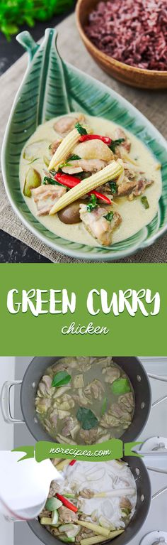 With tender chunks of chicken cooked in a fragrant green curry sauce with eggplant, baby corn and bamboo, this classic Thai recipe is a quick fix that's sure to please. Serve it with a side of riceberry for a stunning green and purple contrast. Green Curry Sauce, Green Curry Chicken, Indian Food Recipes, Asian Recipes, Ethnic Recipes, Duck Recipes, Green Eggplant, Green Papaya Salad, Pork Salad